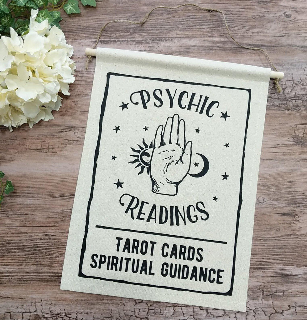 Psychic Readings Tarot Cards Spiritual Guidance Cotton Canvas Wall Banner