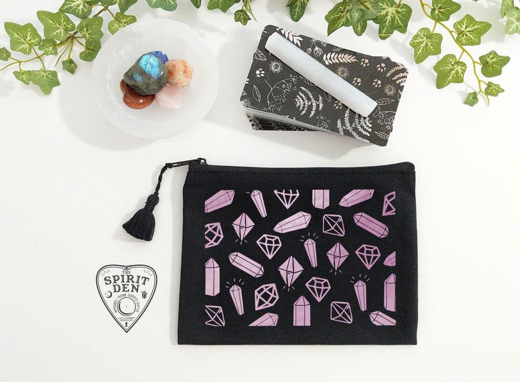 Crystals for Days Black Zipper Bag