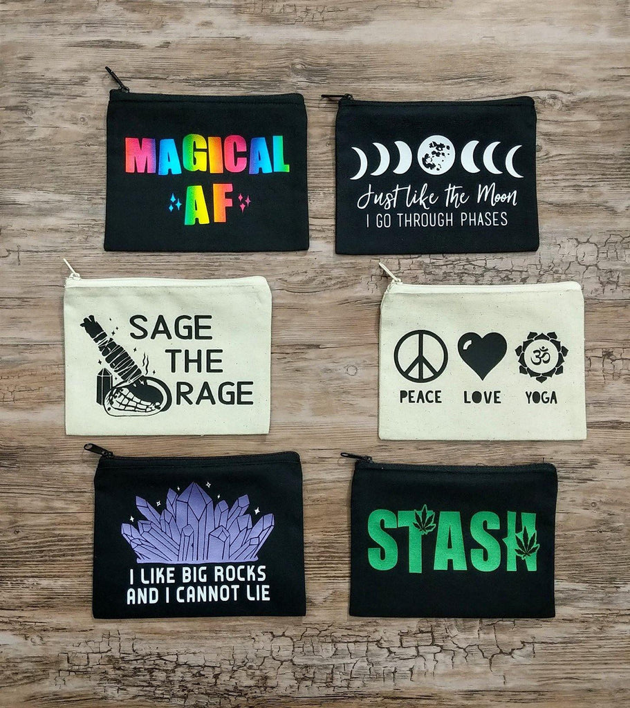 Rainbow Magical AF Black Zipper Bag