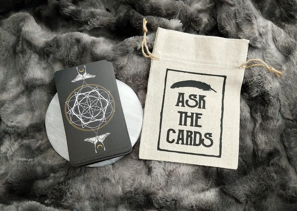 Ask The Cards Feather Design Tarot Deck Bag