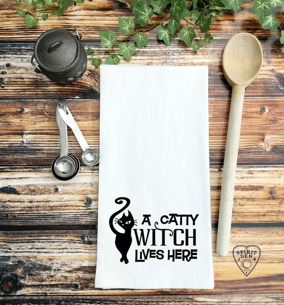 A Catty Witch Lives Here Flour Sack Towel