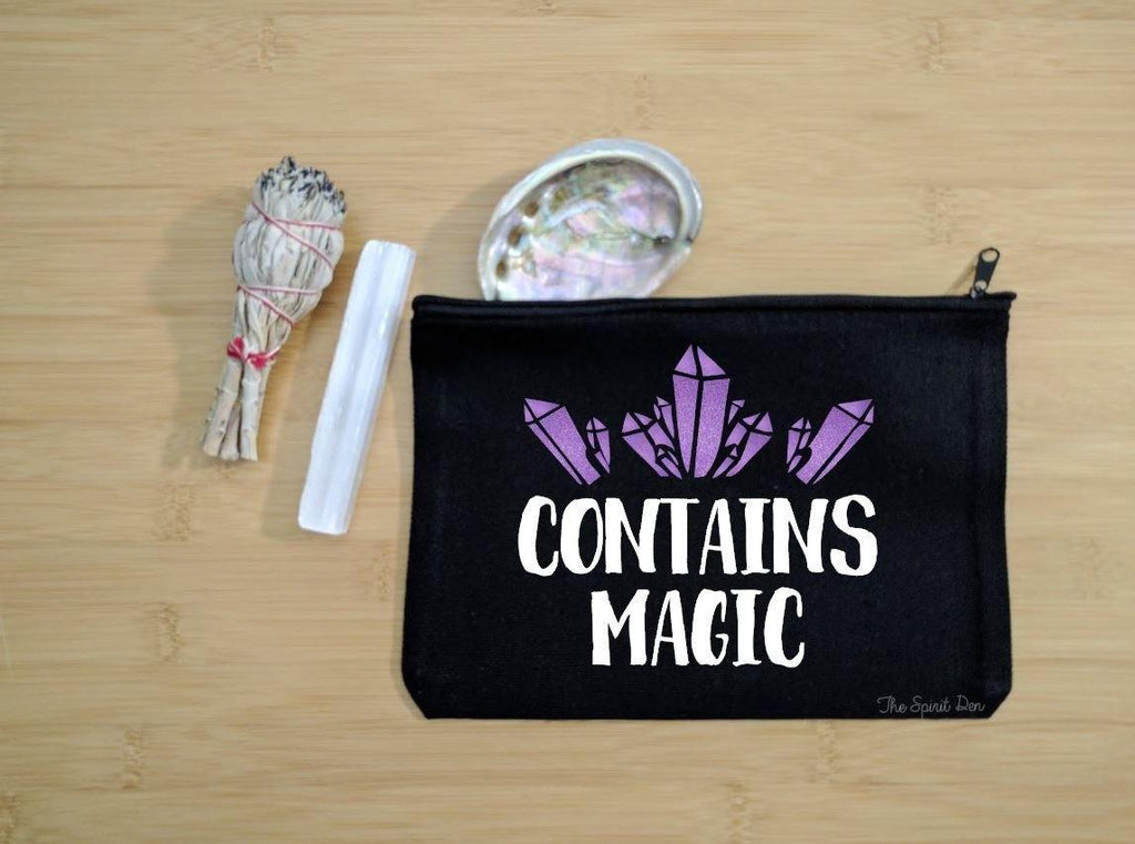 Contains Magic Purple Crystals Black Canvas Zipper Bag