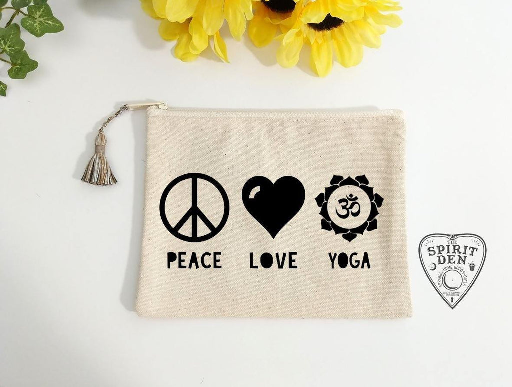 Peace Love Yoga Canvas Zipper Bag