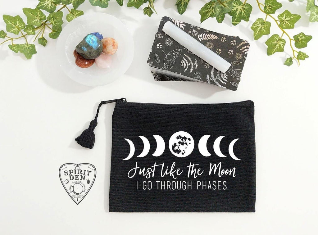 Just Like The Moon I Go Through Phases Black Zipper Bag