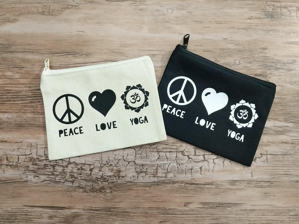 Peace Love Yoga Black Zipper Bag