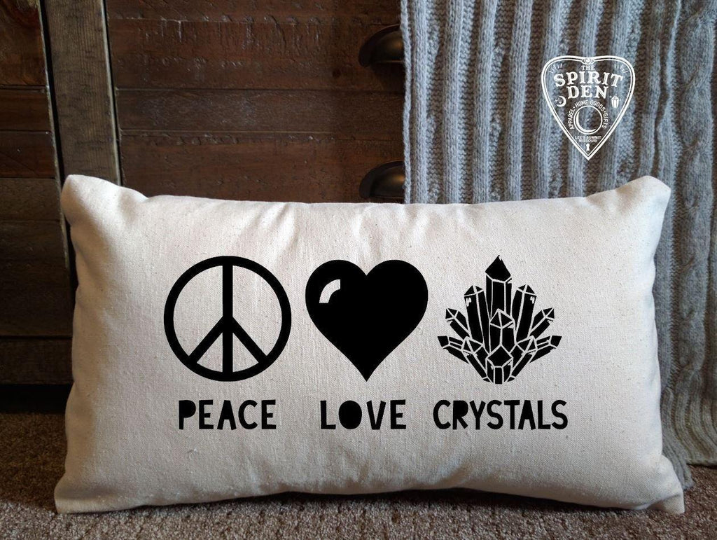 Peace Love Crystals Lumbar Pillow
