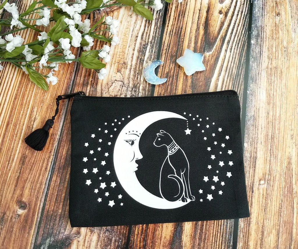 Cat On The Moon Black Canvas Zipper Bag