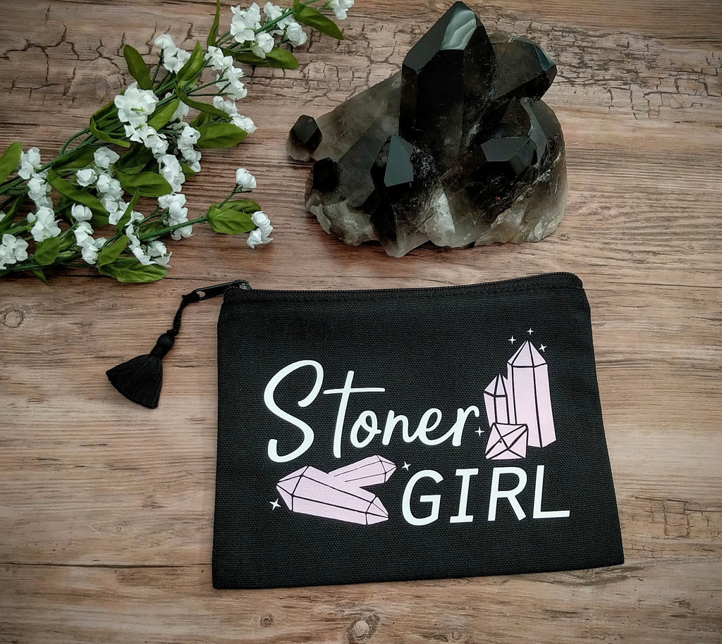 Stoner Girl Crystal Black Zipper Bag