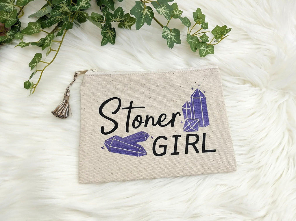 Stoner Girl Crystal Canvas Zipper Bag