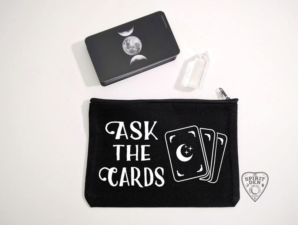 Ask The Cards Black Zipper Bag