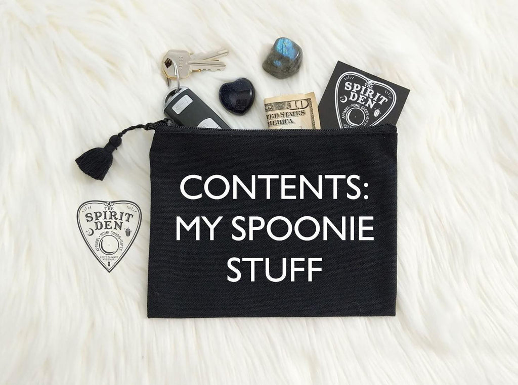 Contents: My Spoonie Stuff Canvas Zipper Bag