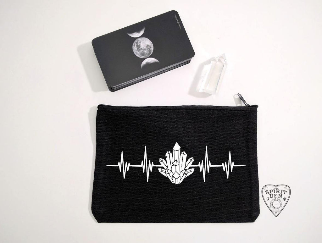 My Heart Beats Crystals Black Zipper Bag