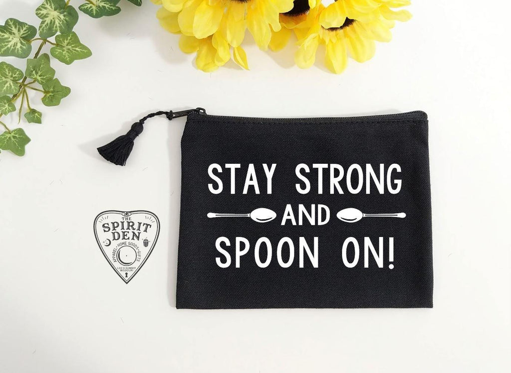 Stay Strong & Spoon On Canvas Zipper Bag