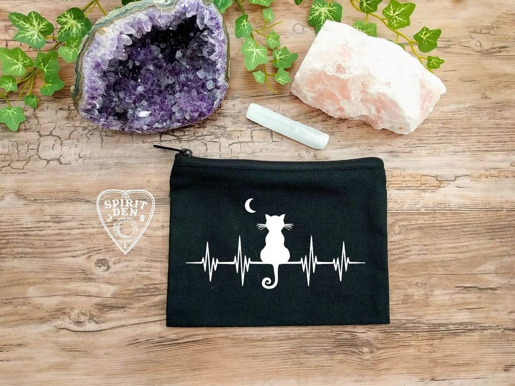 My Heart Beats Kitty Black Canvas Zipper Bag