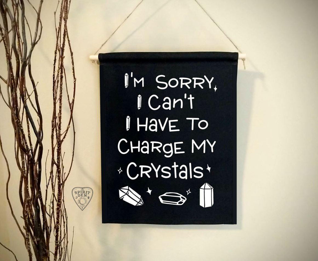 I'm Sorry I Can't I Have To Charge My Crystals Black Canvas Wall Banner