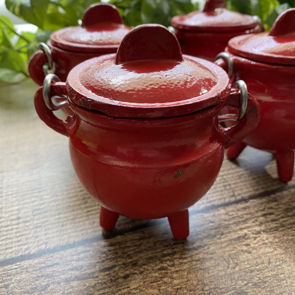 Red Cast Iron Cauldron