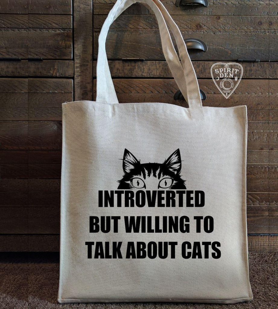 Introverted But Willing To Talk About Cats Cotton Canvas Market Tote Bag - The Spirit Den
