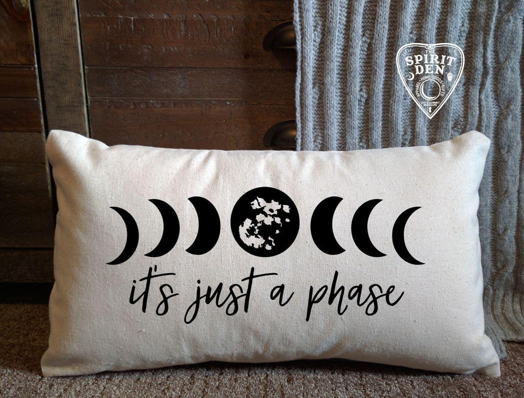 It's Just A Phase Moon Phases Cotton Lumbar Pillow - The Spirit Den