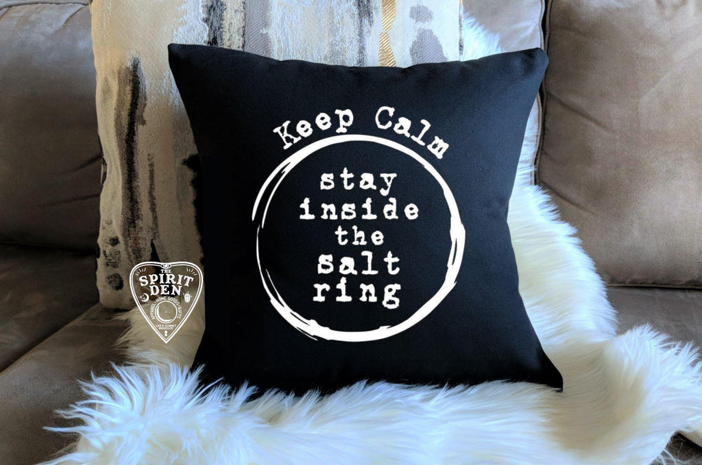 Keep Calm Stay Inside the Salt Ring Black Cotton Pillow