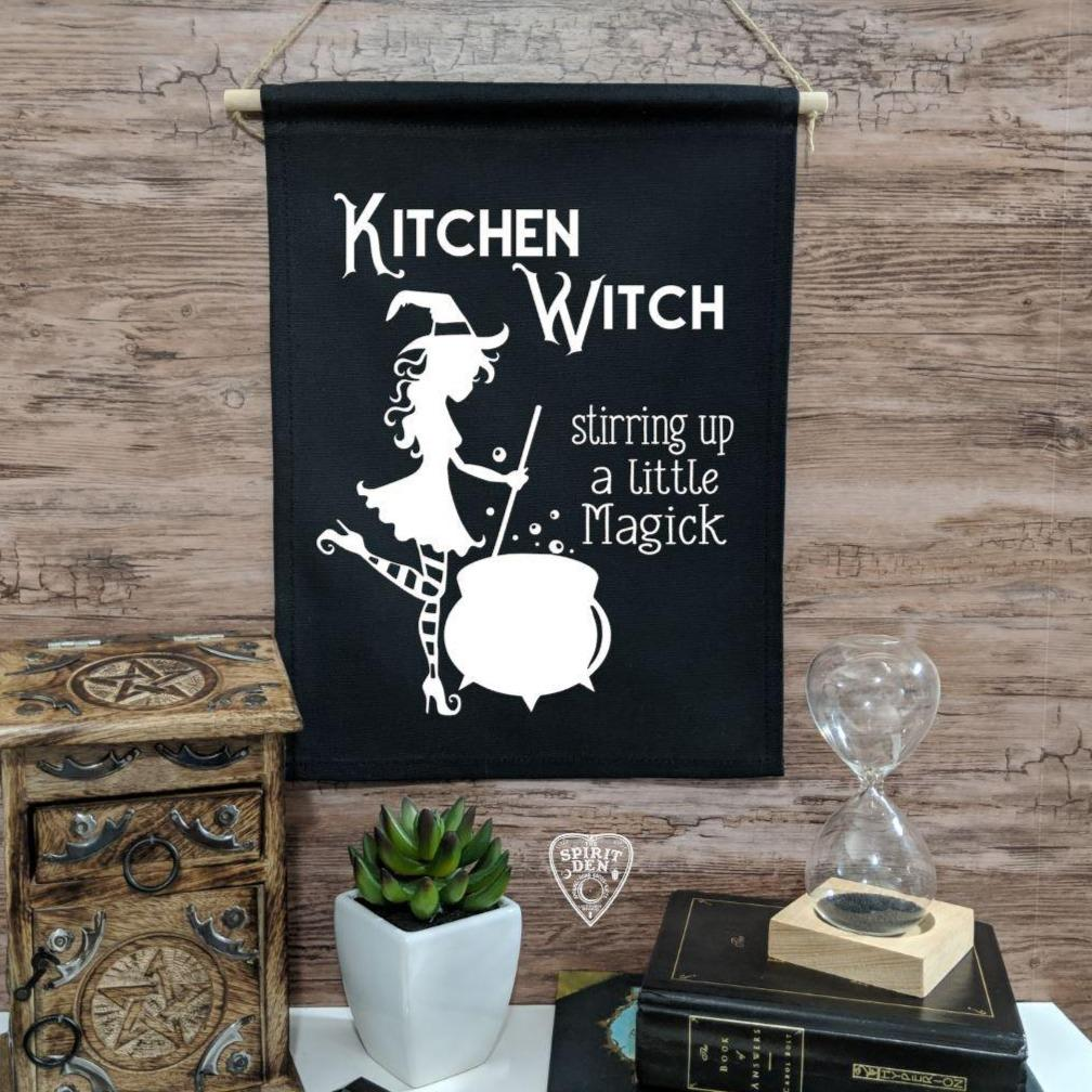 Kitchen Witch Stirring up a Little Magick Black Canvas Wall Banner