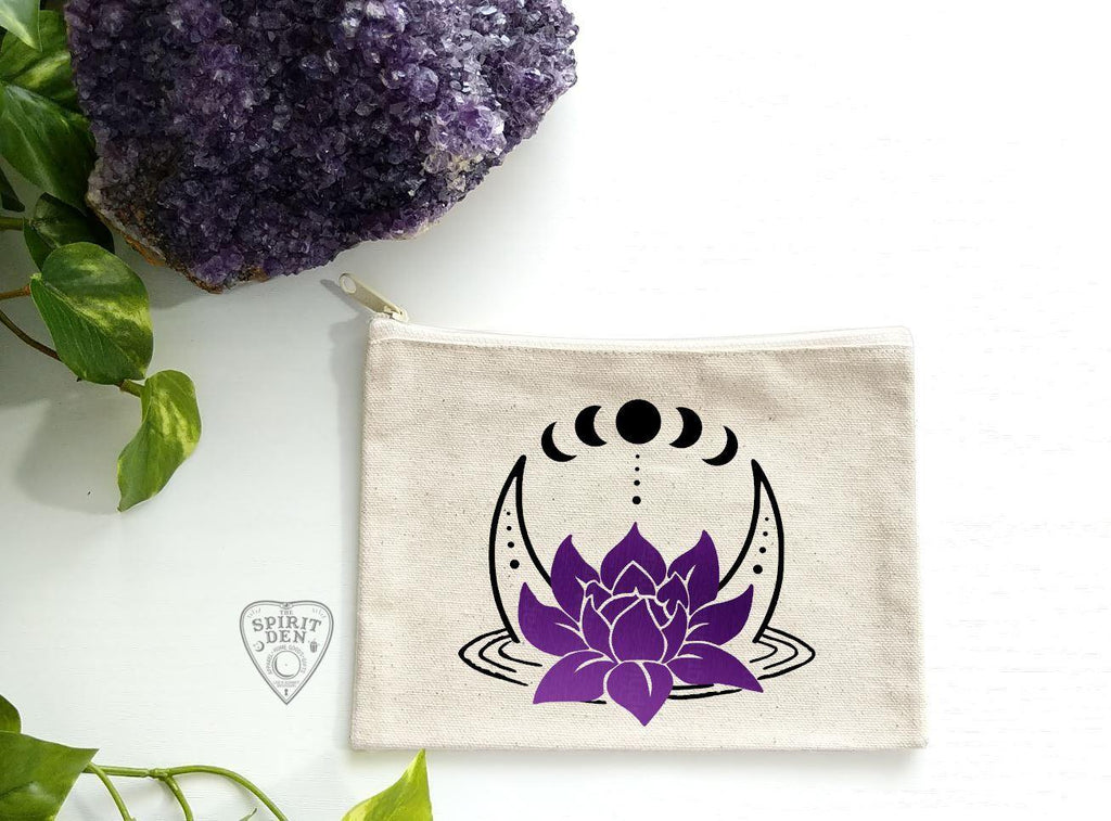 Lotus Moon Phases Canvas Zipper Bag