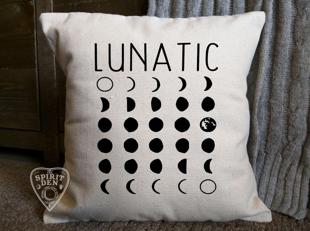 Lunatic Moon Phases Cotton Canvas Natural Pillow - The Spirit Den
