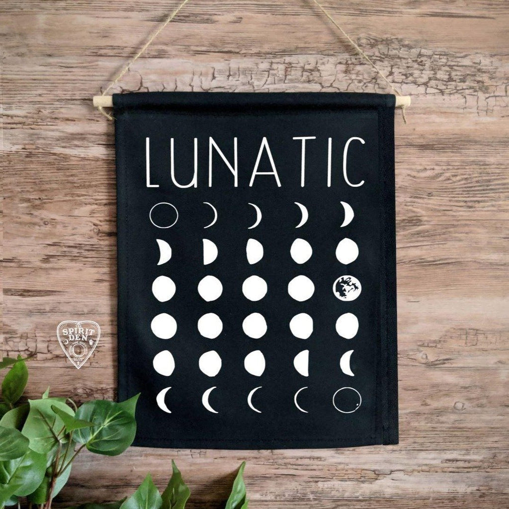 Lunatic Moon Phases Black Canvas Wall Decor