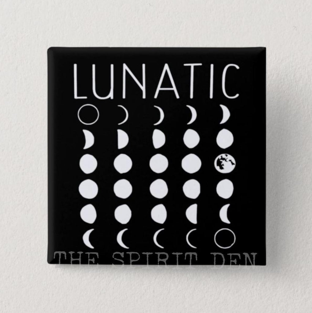 LUNATIC Moon Phases Square Black Pinback Button