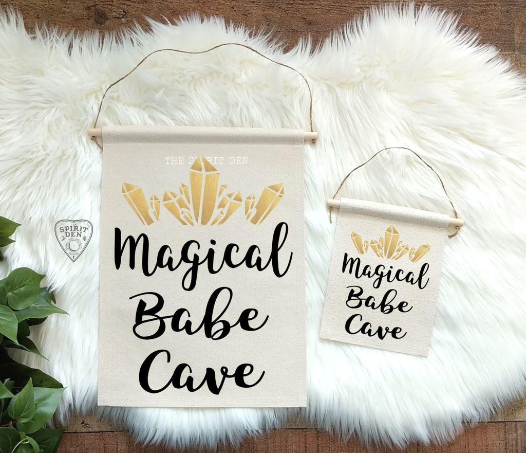 Magical Babe Cave (Gold Crystals) Canvas Wall Banner