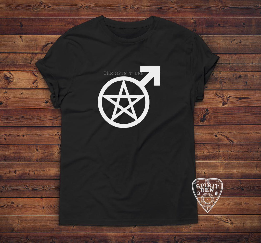 Male Witch Pentacle Symbol T-Shirt Extended Sizes