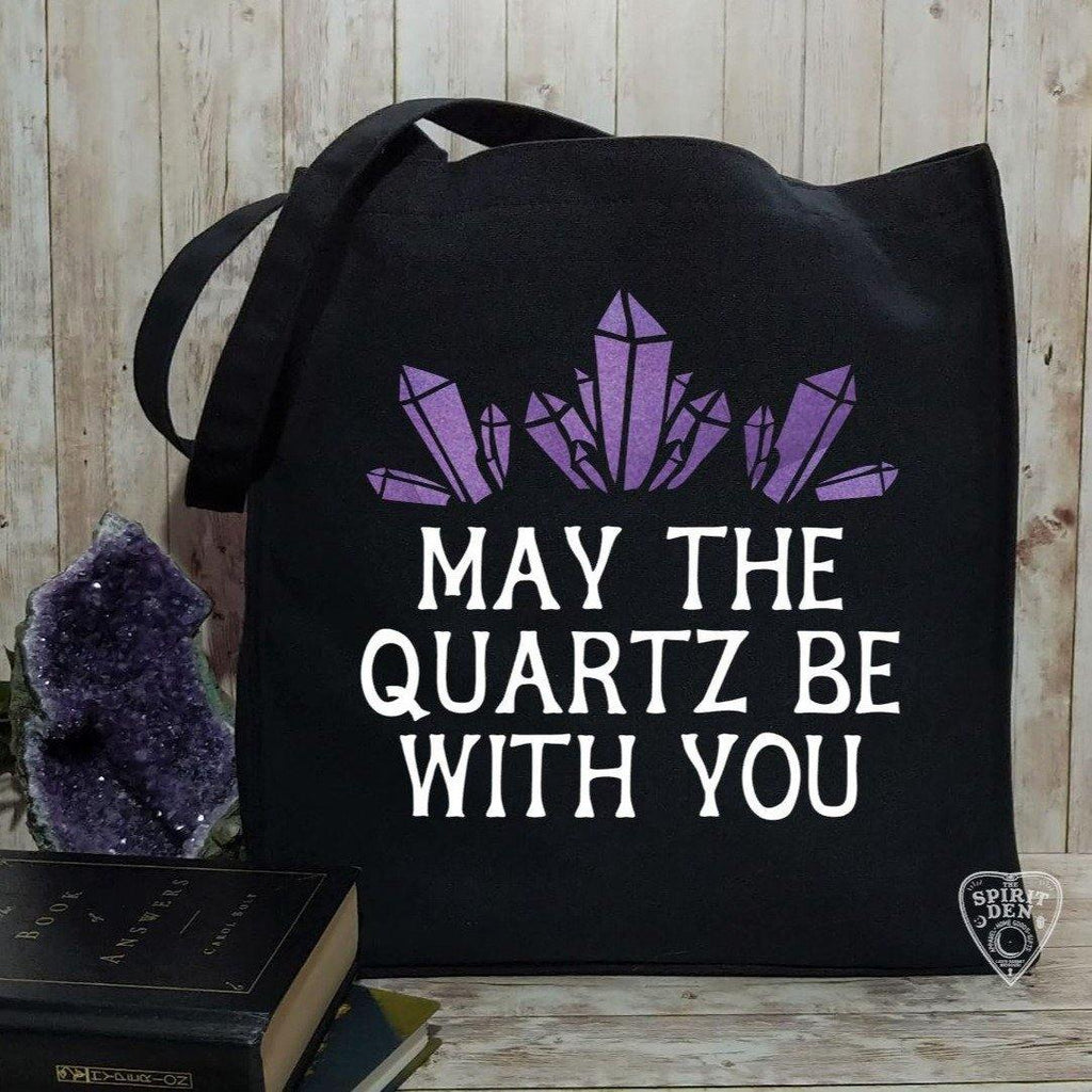May The Quartz Be With You Black Cotton Canvas Market Tote Bag