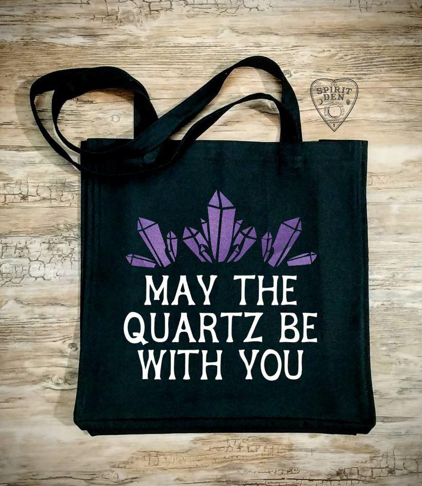May The Quartz Be With You Black Cotton Canvas Market Tote Bag - The Spirit Den