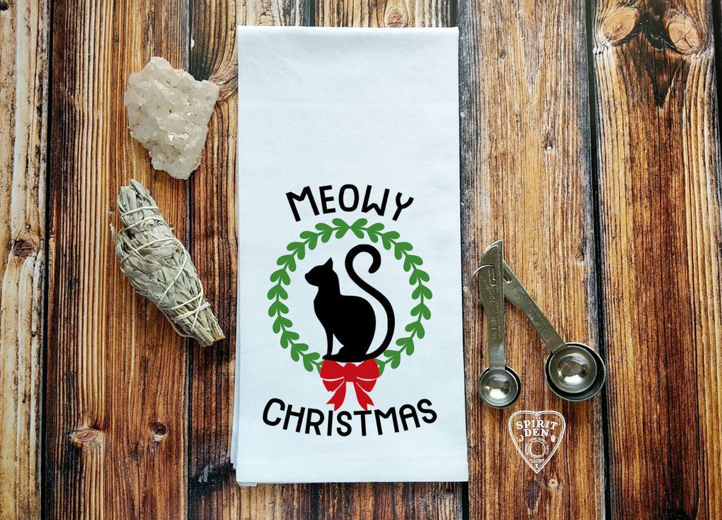 Meowy Christmas Cat Flour Sack Towel
