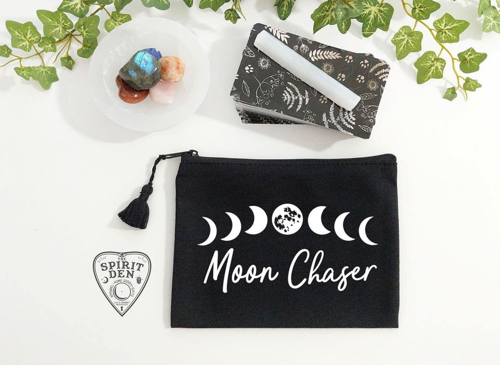 Moon Chaser Moon Phases Black Zipper Bag