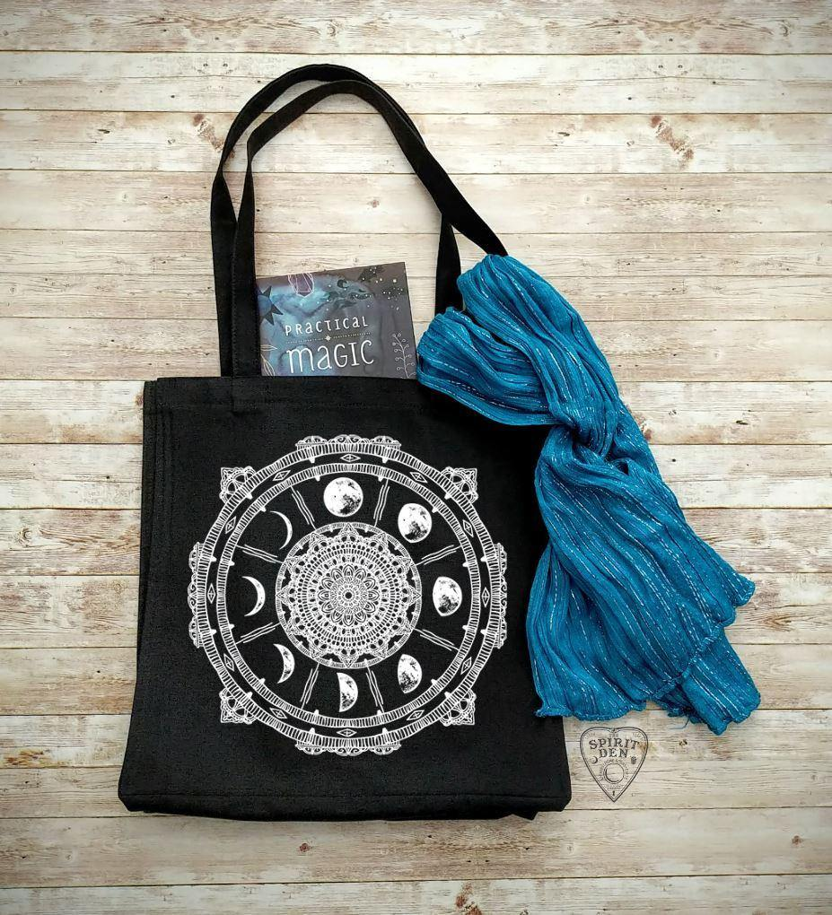 Moon Phase Compass Black Cotton Canvas Market Bag - The Spirit Den
