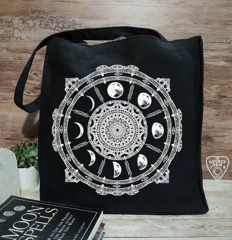 Moon Phase Compass Black Cotton Canvas Market Bag