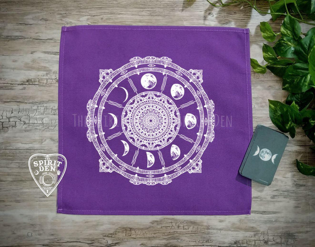Moon Phases Compass Purple Altar Tarot Cloth