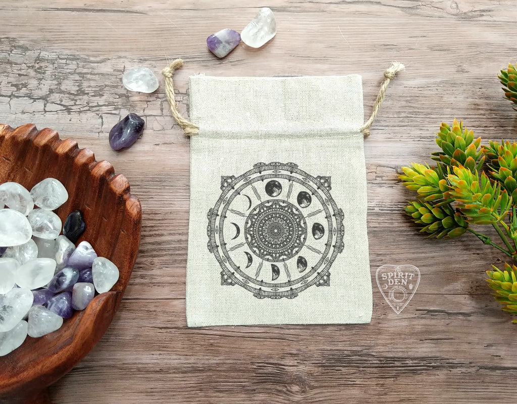 Moon Phase Compass Cotton Linen Drawstring Bag