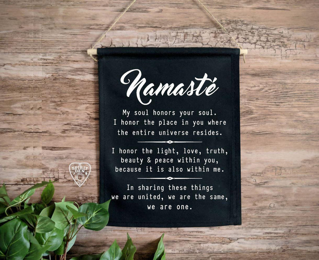 Namaste Definition Black Cotton Canvas Wall Banner