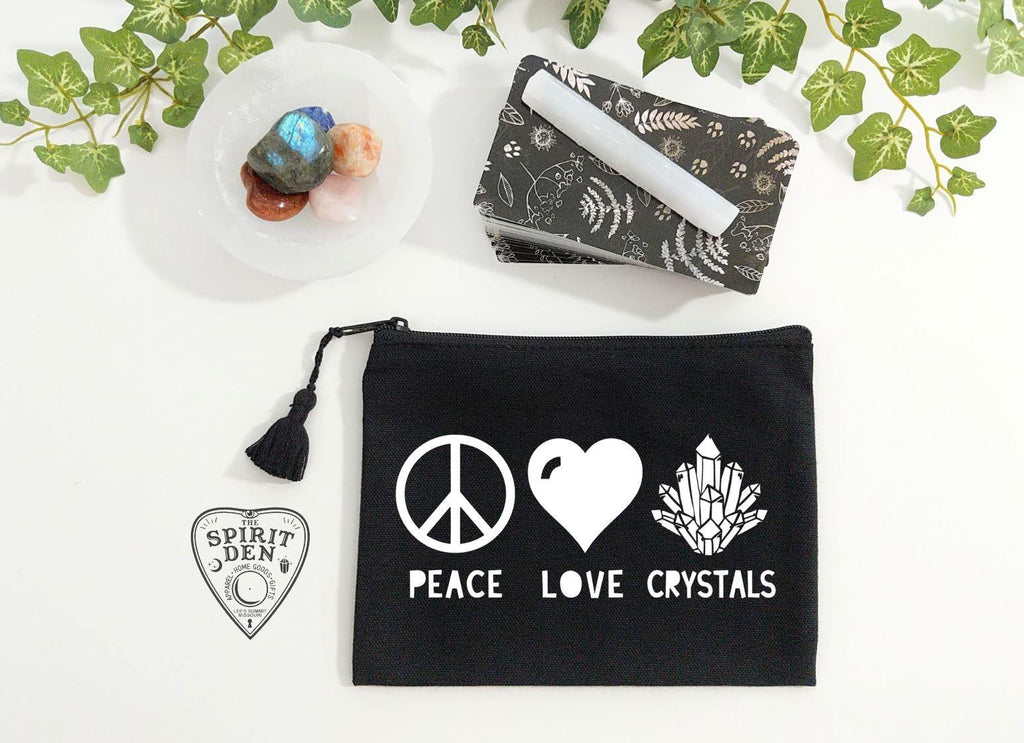 Peace Love Crystals Black Zipper Bag - The Spirit Den