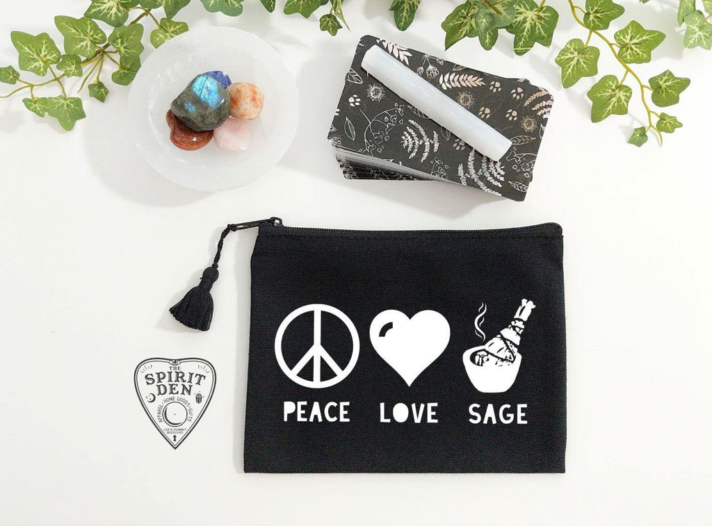 Peace Love Sage Black Zipper Bag