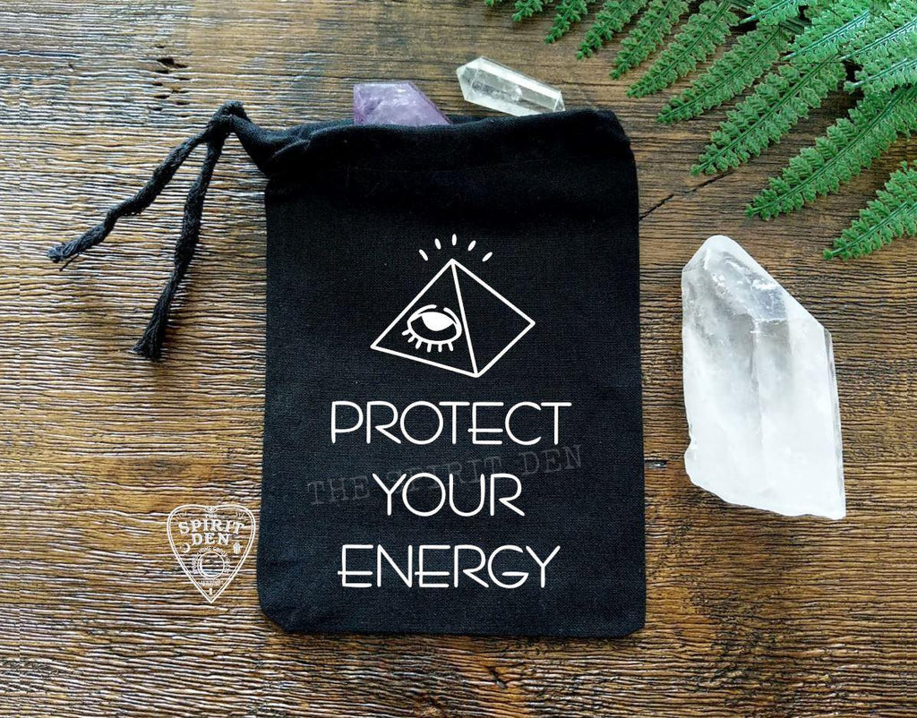 Protect Your Energy Black Single Drawstring Bag - The Spirit Den