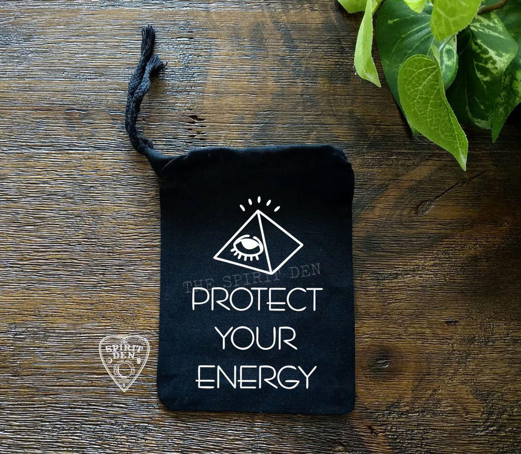 Protect Your Energy Black Single Drawstring Bag