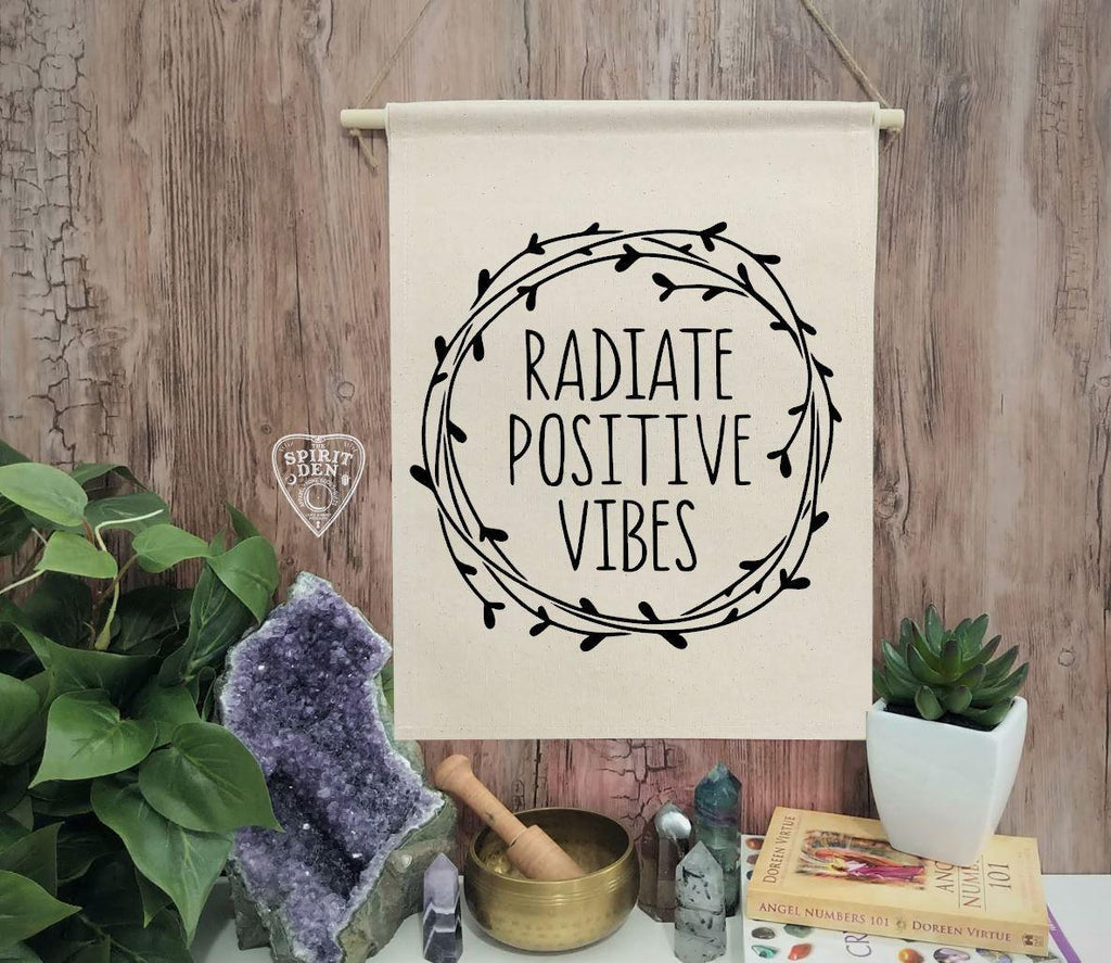 Radiate Positive Vibes Cotton Canvas Wall Banner