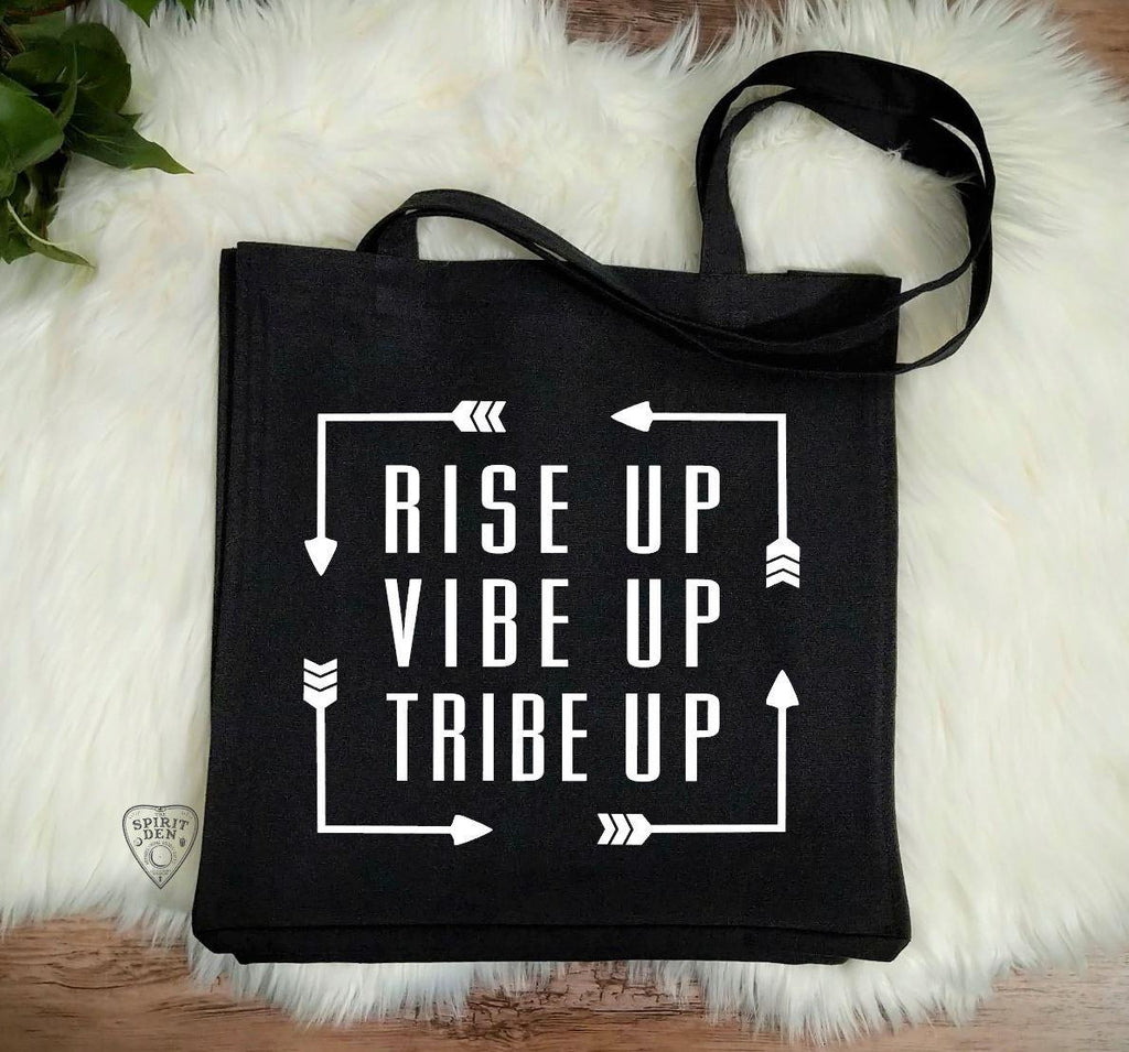 Rise Up Vibe Up Tribe Up Black Canvas Market Tote Bag