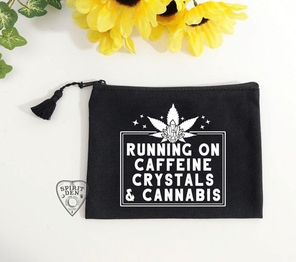 Running On Caffeine Crystals & Cannabis Black Canvas Zipper Bag
