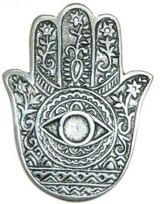 Hamsa Hand Metal Incense Burner for Incense Cones or Sticks