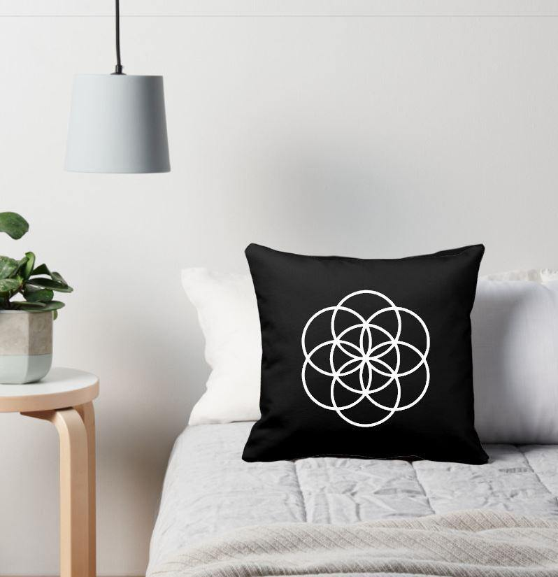 Seed of Life Black Cotton Pillow