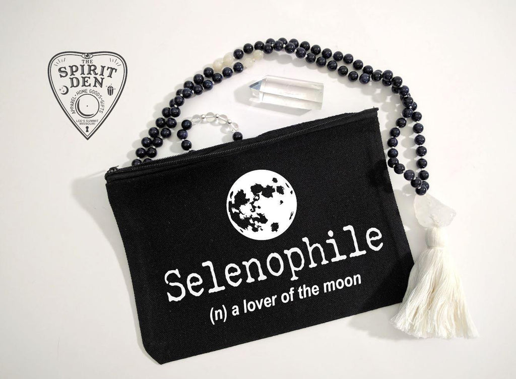Selenophile Definition Full Moon Black Canvas Zipper Bag