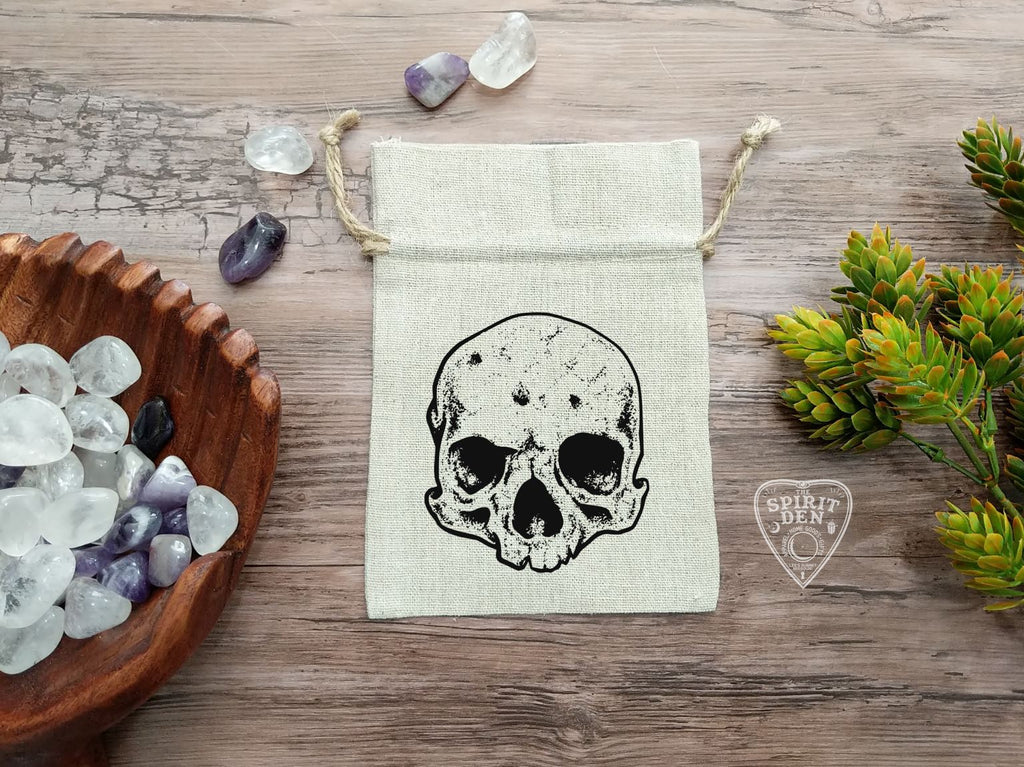 Skull Tarot Drawstring Cotton Linen Bag